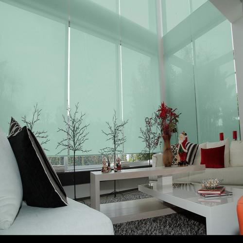 Cortina Enrollable Lavable Verde Agua